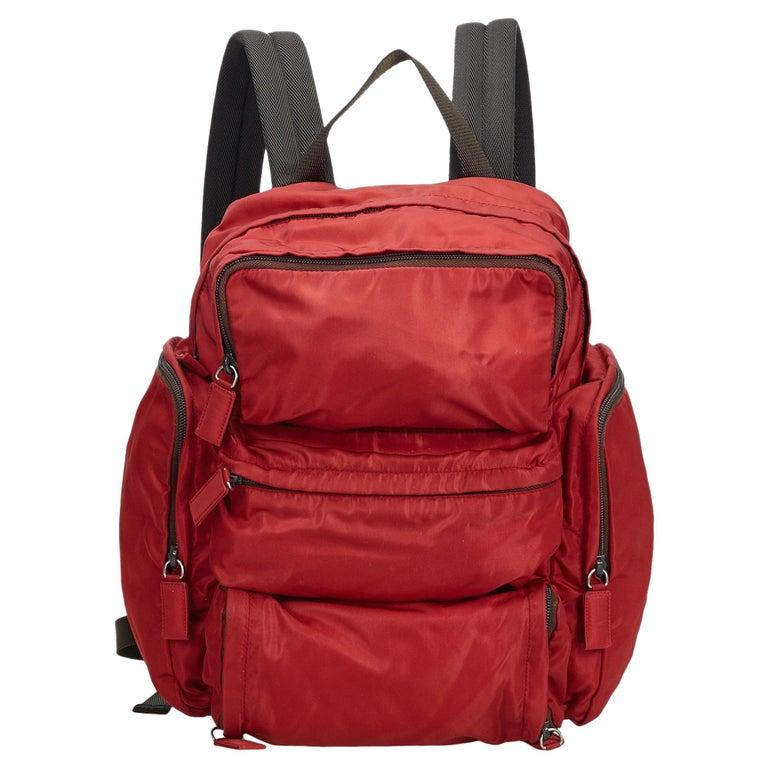 a12fff57ae6109 Prada Red Tessuto Nylon Backpack at 1stdibs