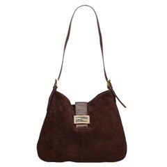 Fendi Brown Suede Mamma Shoulder Bag