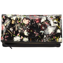 Alexander Mcqueen Black Floral Print Patent Leather Clutch Bag
