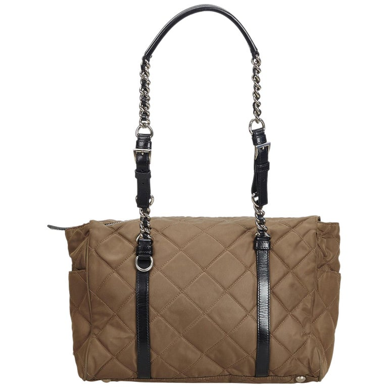 7908c87ecdb1 Prada Brown Quilted Tessuto Nylon Chain Shoulder Bag For Sale at 1stdibs