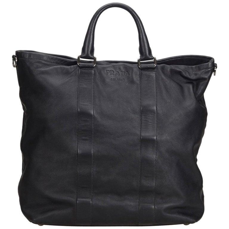 fe2e723e2b98 Prada Black Leather Tote Bag at 1stdibs