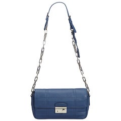 Prada Blue Leather Chain Shoulder Bag