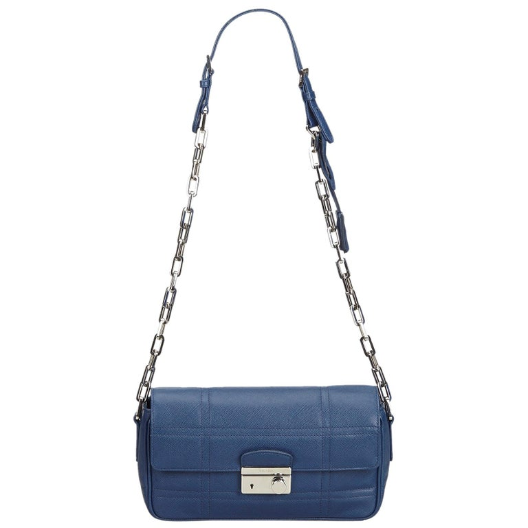 5906137943b5 Prada Blue Leather Chain Shoulder Bag at 1stdibs