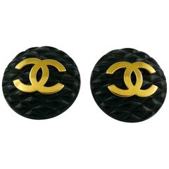 Chanel Vintage 1990s Large Black Quilted Logo Clip-On Earrings