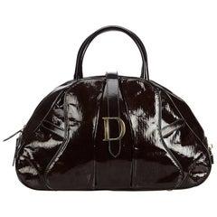 Dior Brown Patent Leather Saddle Dome Handbag
