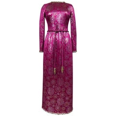 French Couture Evening Dress in Gold and Silver Fuschia Lamé Circa 1968