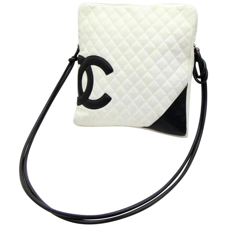 6809224bc93824 Chanel Messenger Cambon Extra Large 230185 White X Black Quilted Leather  Cross B For Sale