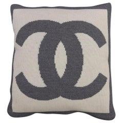 Chanel White X Gray Cc Logo Woven Pillows 229775
