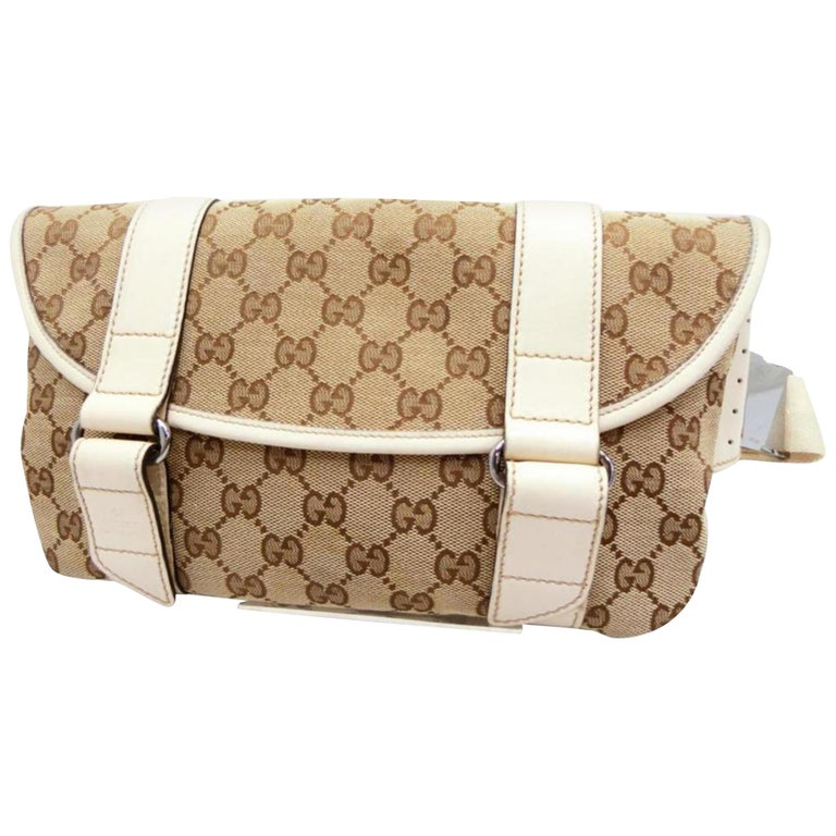 bf1a6463c392 Gucci Monogram Waist Pouch Fanny Pack 229998 Beige Coated Canvas Cross Body  Bag For Sale