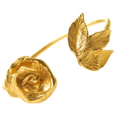 Giulia Barela 24 Karat Fine Gold-Plated Bronze Indian Rose Cuff Bracelet