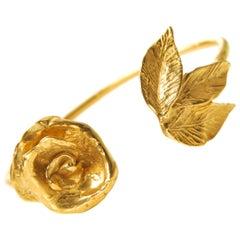 Indian Rose 24 karat Gold-Plated Bronze Cuff Bracelet