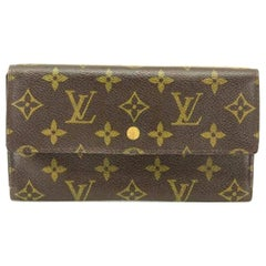 Louis Vuitton Brown Tresor Porte Monogram Trifold Long Sarah 220073 Wallet
