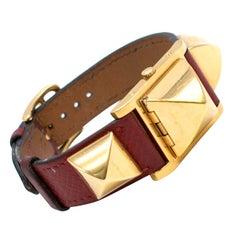 Hermes Medor vintage studded leather bracelet watch