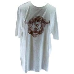 ced2bf87 Louis Vuitton White Graffiti Initial Logo T-shirt 226166 Tee Shirt