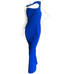 Thierry Mugler Vintage 1980's Royal Blue Cut Out Maxi Dress Size L