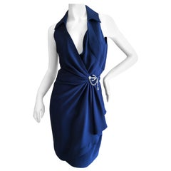 Thierry Mugler Vintage 1980's Navy Blue Wrap Dress w Nautical Anchor Detail
