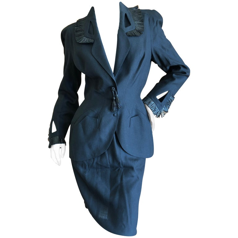 Thierry Mugler Vintage 1980's Black Suit with Raffia Fringe Tassel and Trim  For Sale