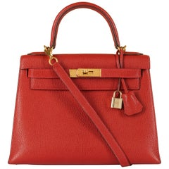 Hermes Kelly 28cm in rare Chevre Mysore - Rouge 'H' Leather with Gold Hardware