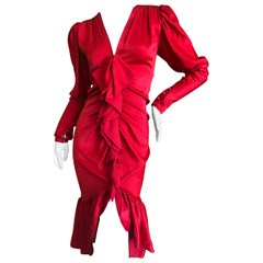 Yves Saint Laurent Rive Gauche 1970's Red Ruffle Dress