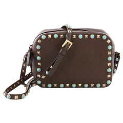Valentino Rockstud Camera Crossbody Bag Leather with Cabochons