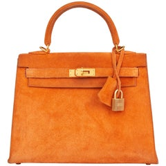 2004 Hermès Orange H Veau Doblis Kelly 25cm Sellier