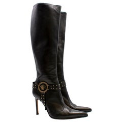 Versace Black Stiletto Knee High Boots US 7