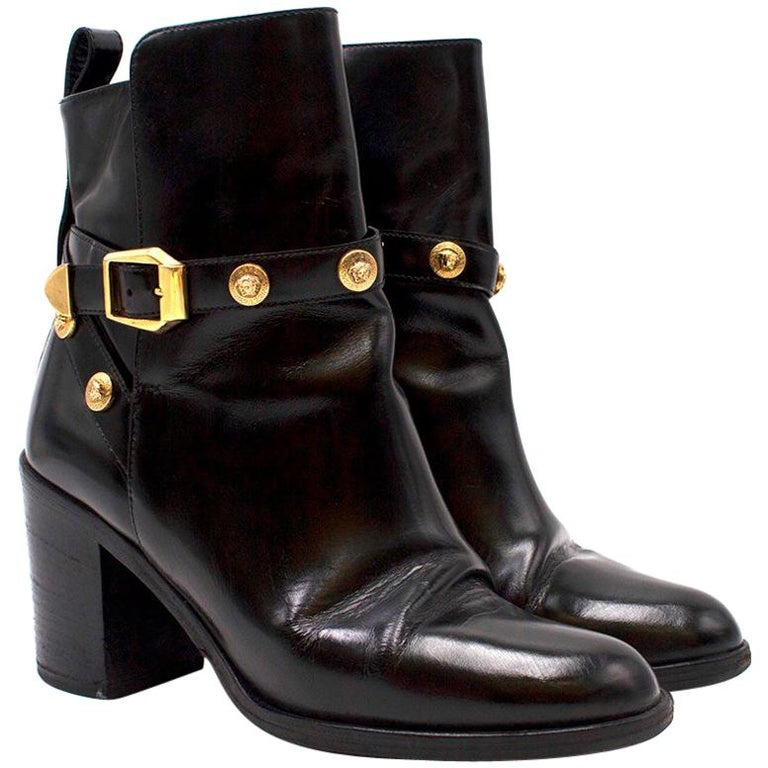 cdae1d84192 Versace Medusa Head Buckle Black Ankle Boots US 9 For Sale at 1stdibs