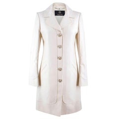 Versace White Cotton-blend Single-breasted Coat US 4