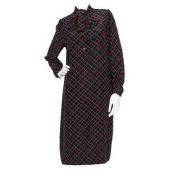 A 1970s Vintage Lanvin Silk Graphic Print Silk Tunic Dress