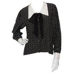 A 1970s Vintage Yves Saint Laurent Black Floral Silk Blouse