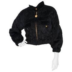 A 1980s Vintage Yves Saint Laurent Rive Gauche Cropped Black Bomber Jacket