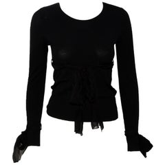Chanel Black Knit Long Sleeve Round Neck  From 2004 Collection