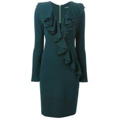 Balmain Ruffled V-Neck Mini Dress