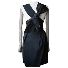 Lanvin Twisted Bow Back Pleated Dress