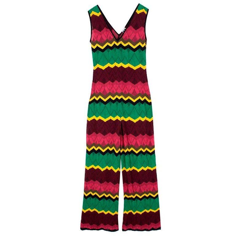 efa45f270f8a5 Missoni V-Neck Zigzag Knit Jumpsuit US 6 For Sale at 1stdibs