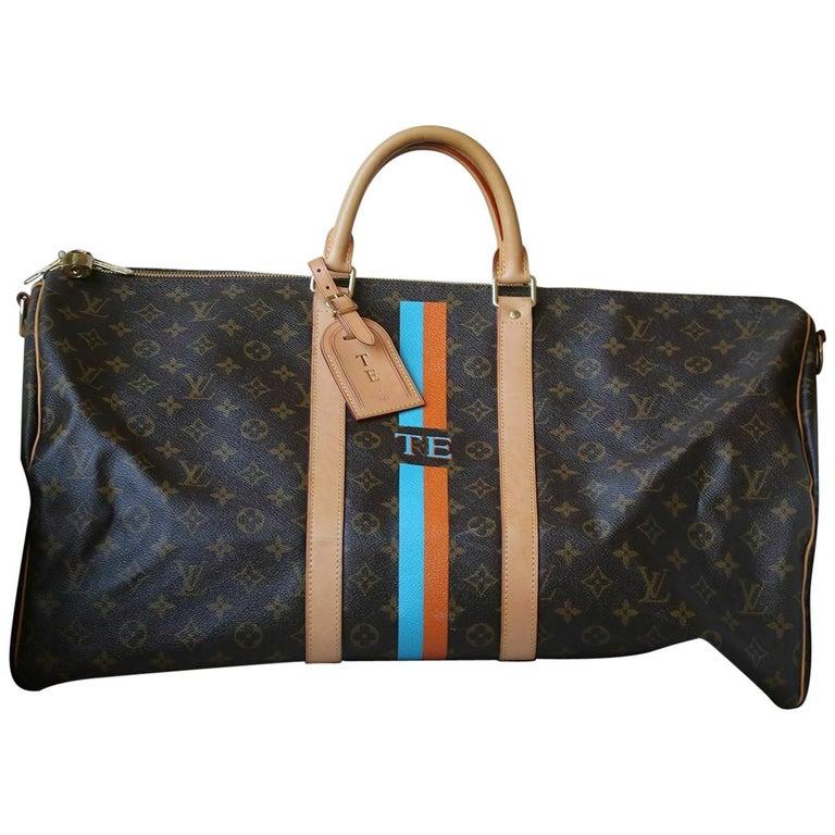 Louis Vuitton Personalised Keepall 55 Mon Monogram Travel Bag For Sale