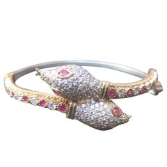 Sterling Silver Crystal Encrusted Serpent Bracelet Circa 21st C