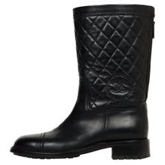 Chanel Black Leather Quilted CC Biker Boots Sz 40