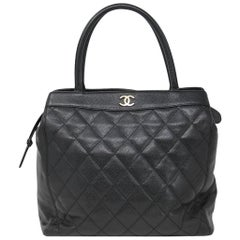 Chanel Black Caviar Quilted Top Handle GHW Tote Bag Purse
