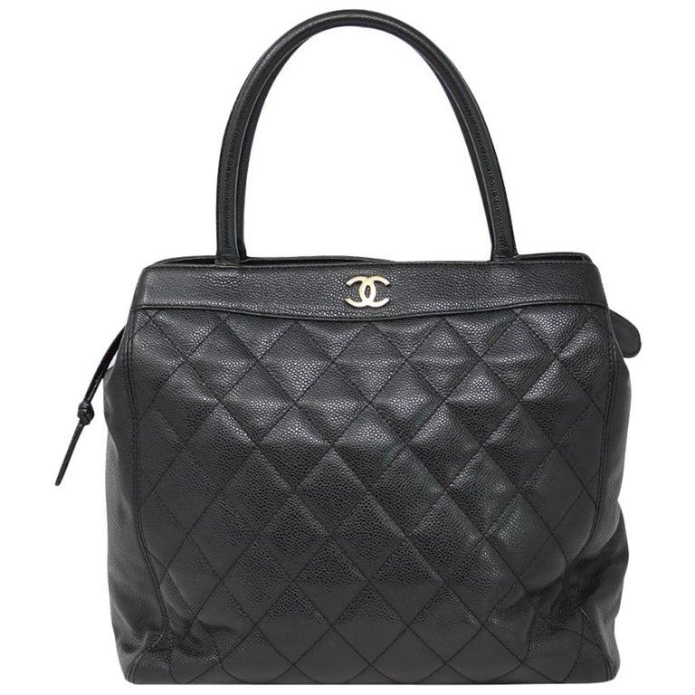 Chanel Black Caviar Quilted Top Handle GHW Tote Bag Purse For Sale