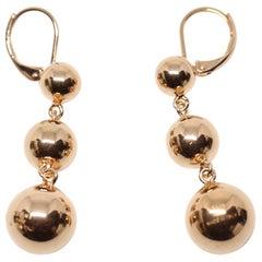 CELINE by PHOEBE PHILO rose gold triple sphere drop earrings - NEW