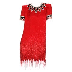 Bob Mackie 80-s Rare Red Beaded Fringe Cocktail Dress