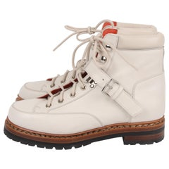Hermes Off White Leather Hiking Boots