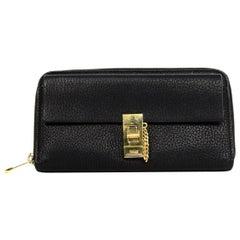 Chloe Black Textured Leather Drew Zip Around Wallet rt. $550