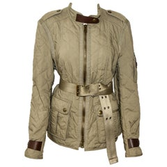Burberry Brit Quilted Bayleaf Green Cotton Safari Trench Field Jacket  NWT