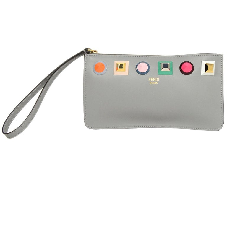 0345f291f144 Fendi Grey Leather Multicolor Studded Liberty Wristlet Bag at 1stdibs