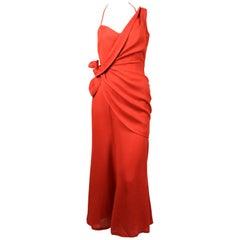 1990's THIERRY MUGLER terracotta linen dress with asymmetrical wrap