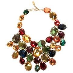 1987 YVES SAINT LAURENT multi-color faceted 'stones' bib necklace