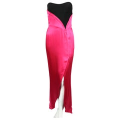 1990's THIERRY MUGLER fuchsia charmeuse gown with black bodice