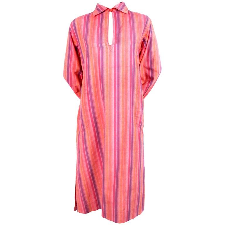 1970's YVES SAINT LAURENT fuchsia striped cotton dress For Sale
